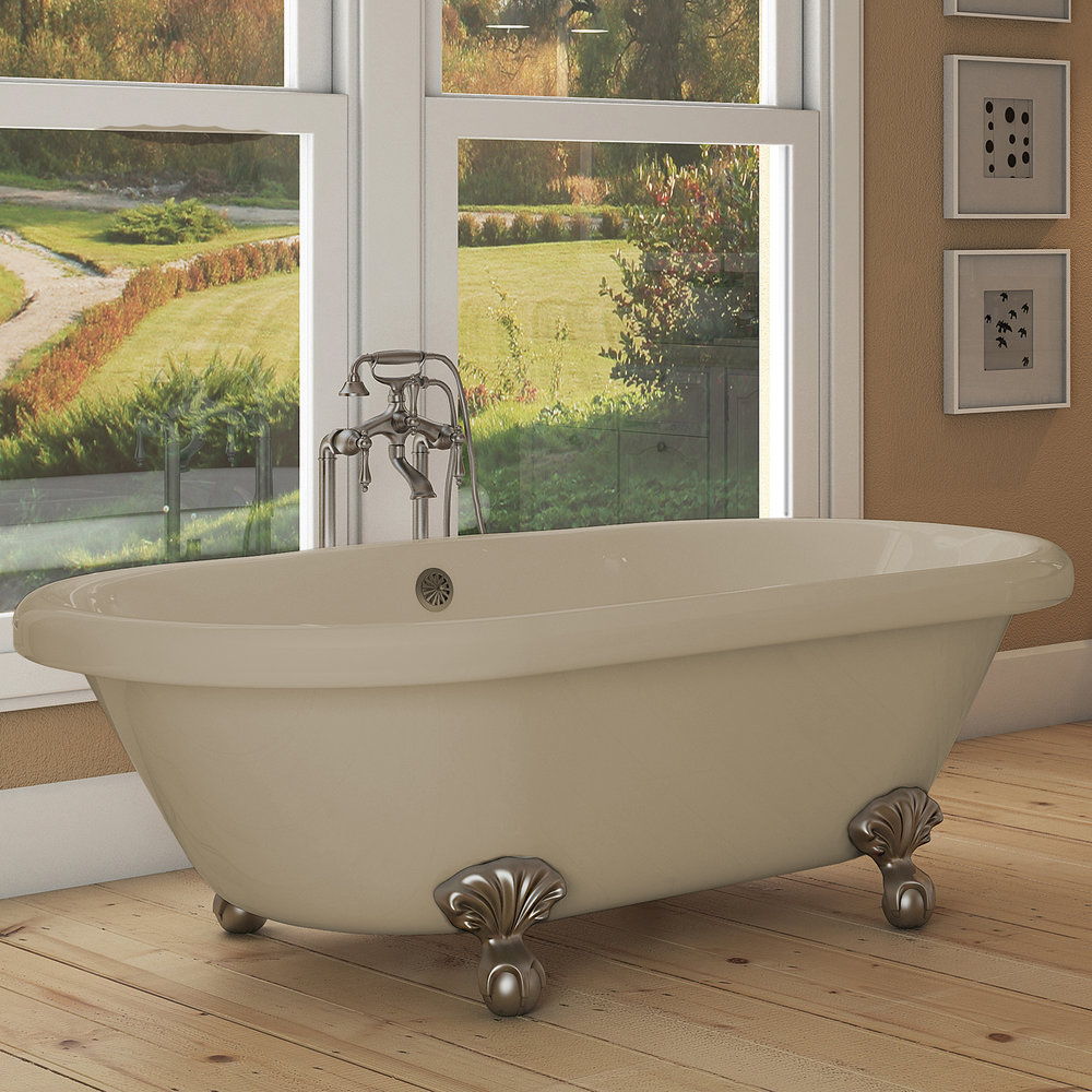 Northfield 72 inch Clawfoot Tub in Bisque with Brushed Nickel Feet and Drain   $799.95