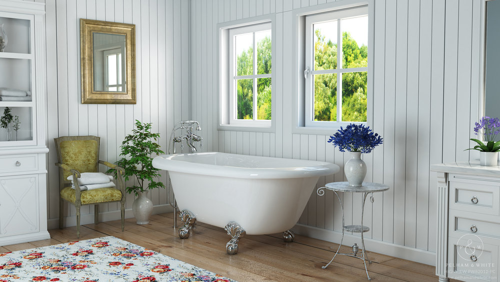 Pelham and White Highview 54 Clawfoot Tub in White with Chrome Clawfeet.jpg