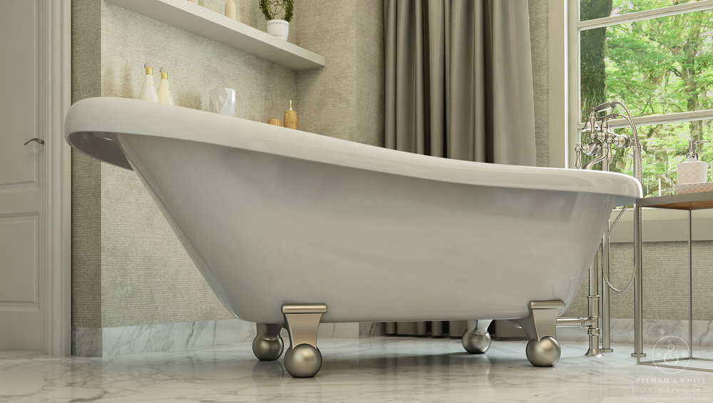 Pelham and White- Brookdale 60 inch slipper tub- Cannonball Feet in Brushed Nickel