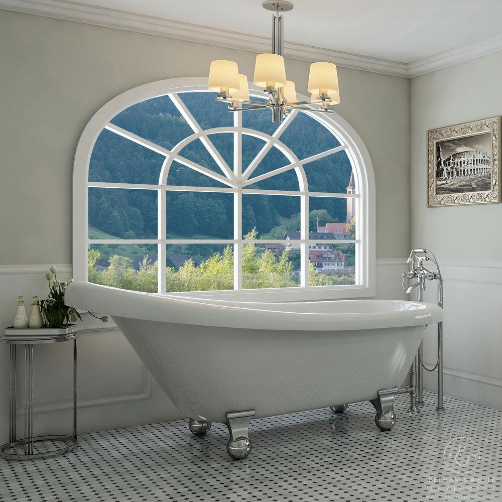 Pelham and White- Glendale 67 inch clawfoot tub- Cannonball Feet in Chrome- Main
