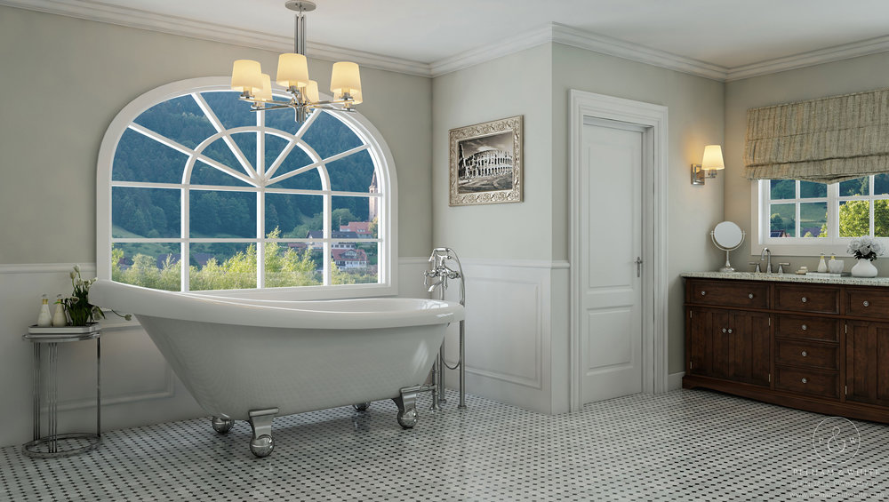 Pelham and White- Glendale 67 inch Clawfoot tub- Cannonball Feet in Chrome- 1