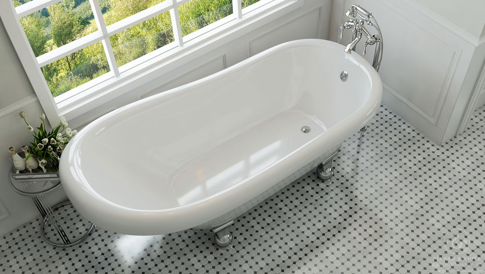 Pelham and White- Glendale 67 inch clawfoot tub- Cannonball Feet in Chrome- 3