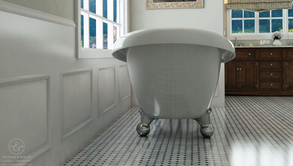 Pelham and White- Glendale 67 inch clawfoot tub- Cannonball Feet in Chrome- 4
