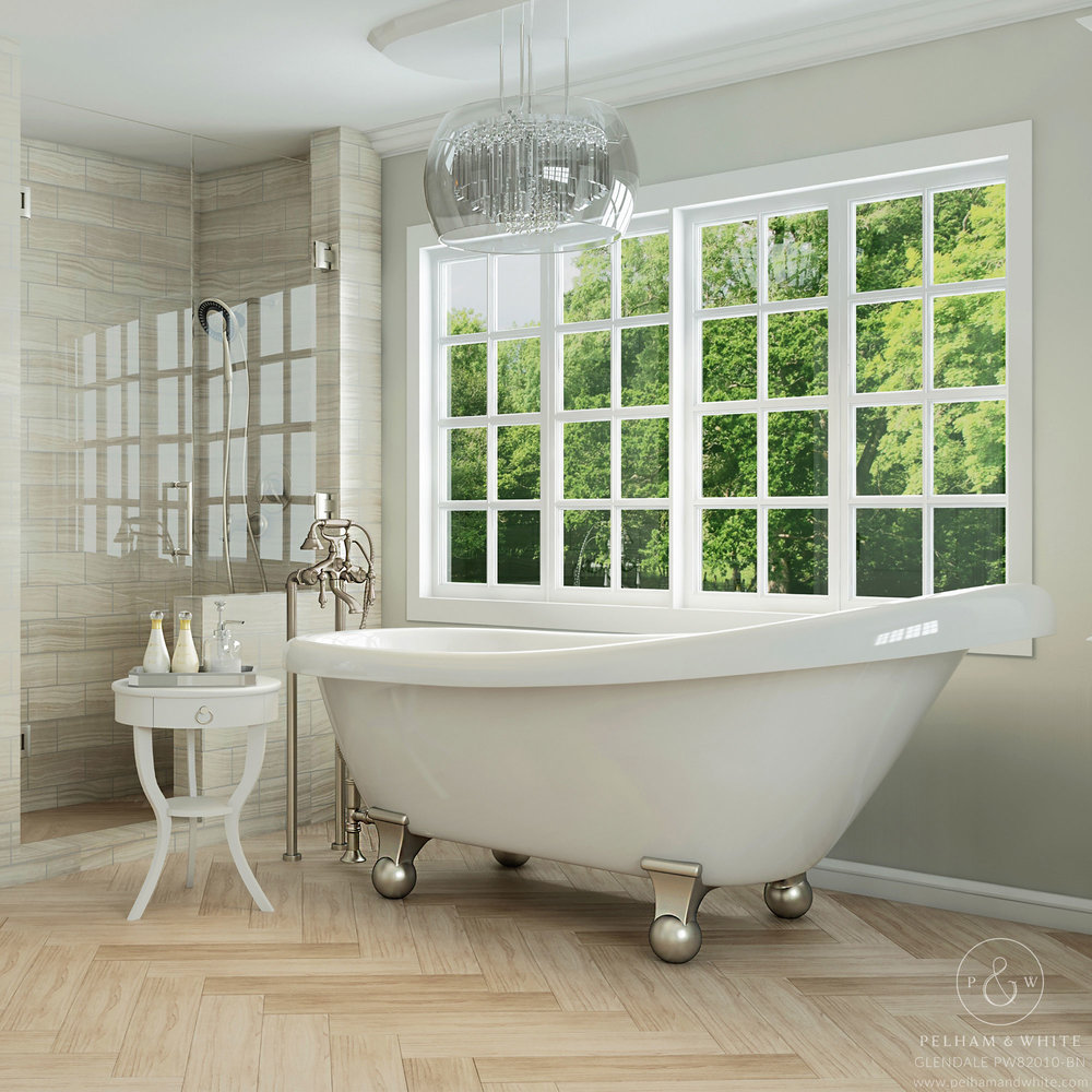 Pelham and White- Glendale 67 inch clawfoot tub- Cannonball Feet in Brushed Nickel- Main