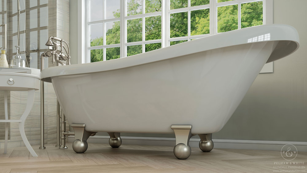 Pelham and White- Glendale 67 inch Clawfoot tub- Cannonball Feet in Brushed Nickel- 2