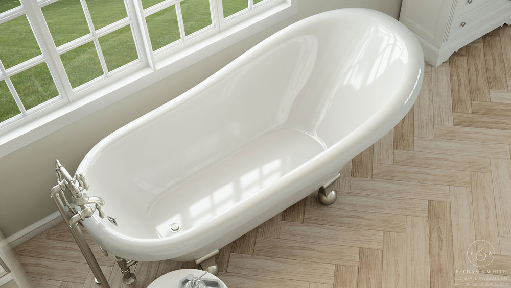 Pelham and White- Glendale 67 inch clawfoot tub- Cannonball Feet in Brushed Nickel- 3