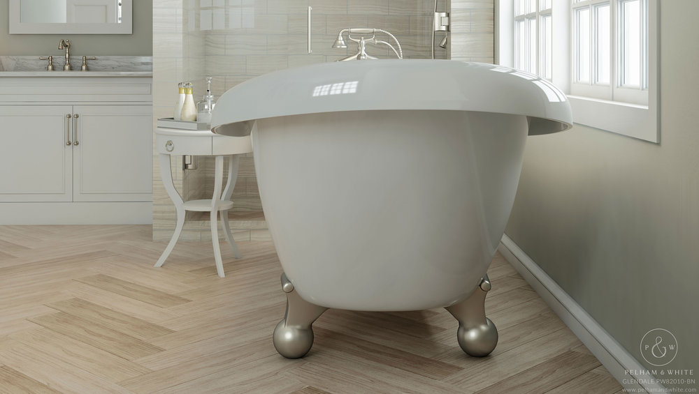 Pelham and White- Glendale 67 inch clawfoot tub- Cannonball Feet in Brushed Nickel- 4