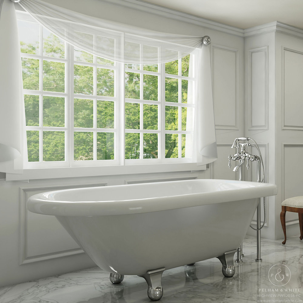 Pelham and White- Highview 54 inch clawfoot tub- Ball and Claw Feet in Chrome- Main