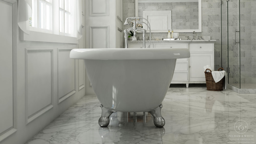 Pelham and White- Highview 54 inch clawfoot tub- Ball and Claw Feet in Chrome- 4