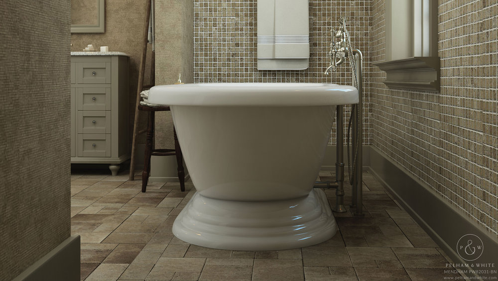 Pelham and White- Mendham 60 inch freestanding pedestal tub- Brushed Nickel Drain- 4
