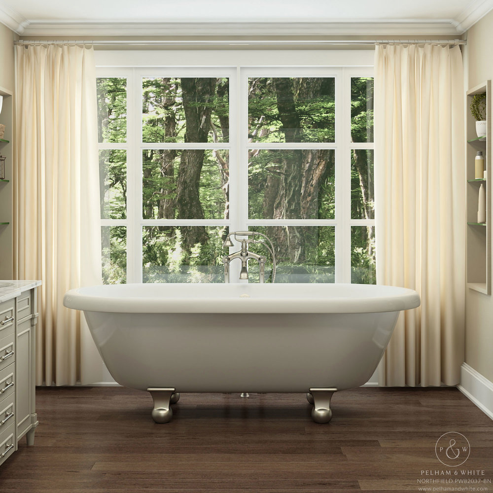 Pelham and White- Northfield 72 inch clawfoot tub- Cannonball Feet in Brushed Nickel- Main