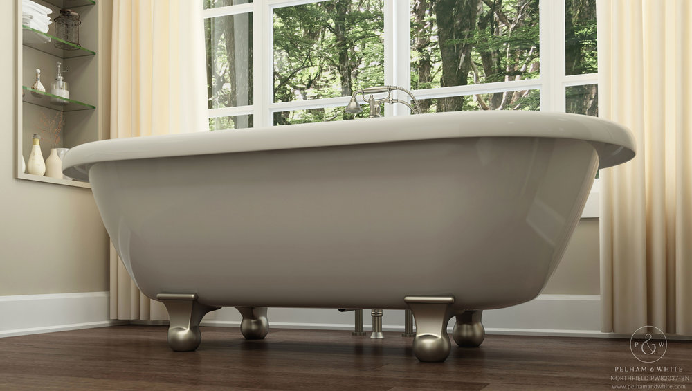 Pelham and White- Northfield 72 inch clawfoot tub- Cannonball Feet in Brushed Nickel- 2