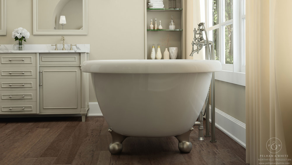 Pelham and White- Northfield inch clawfoot tub- Cannonball Feet in Brushed Nickel- 4
