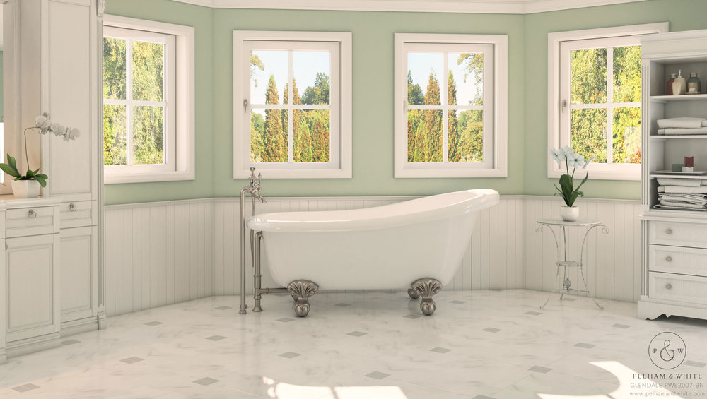 Pelham and White- Glendale 67 inch Clawfoot tub- Ball and Claw Feet in Brushed Nickel- 1