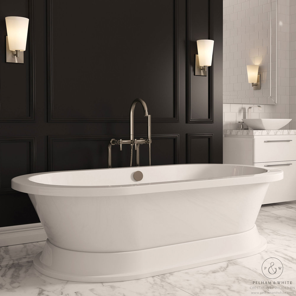 Pelham and White- Crestmont 67 inch freestanding pedestal tub- brushed nickel drain- Main