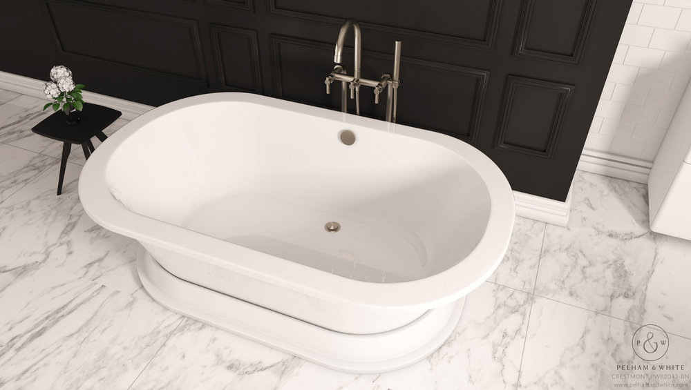 Pelham and White- Crestmont 67 inch freestanding pedestal tub- Brushed Nickel Drain- 3