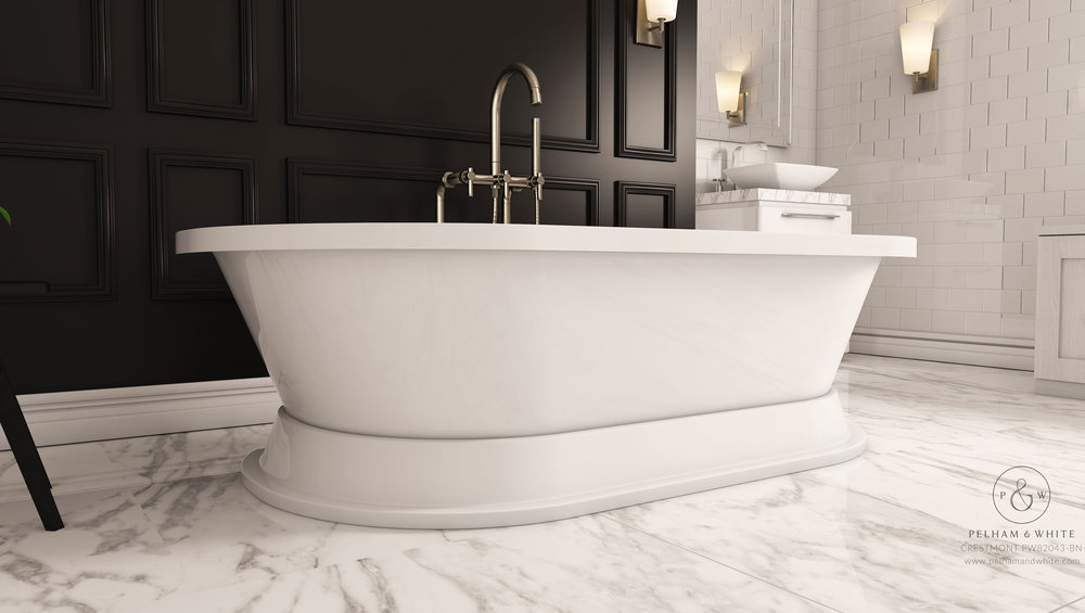 Pelham and White- Crestmont 67 inch freestanding pedestal tub- Brushed Nickel Drain- 4
