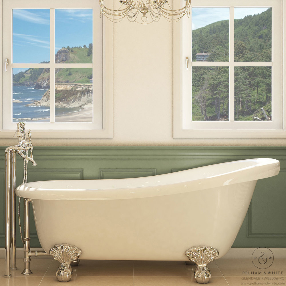 Pelham and White- Glendale 67 inch clawfoot tub- Ball and Claw Feet in Chrome- Main