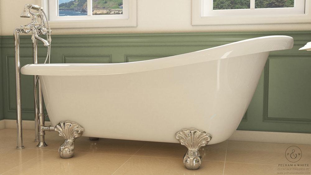 """Glendale 67"""" Clawfoot Slipper Tub in Chrome"""