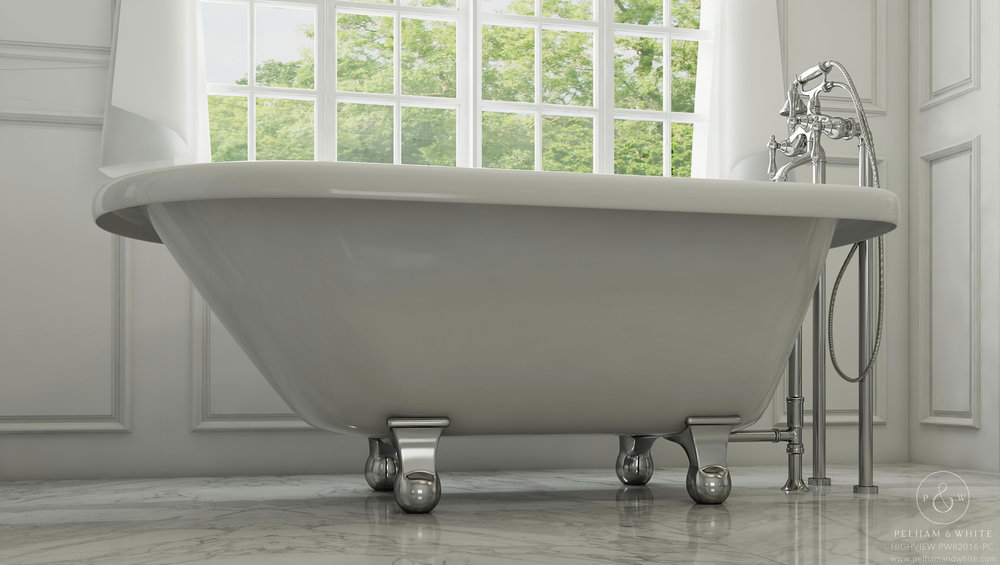 "Highview 54"" Cannonball Tub in Chrome"