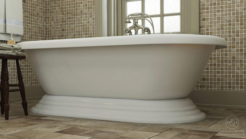 """Mendham 60"""" Pedestal Tub in Nickel"""
