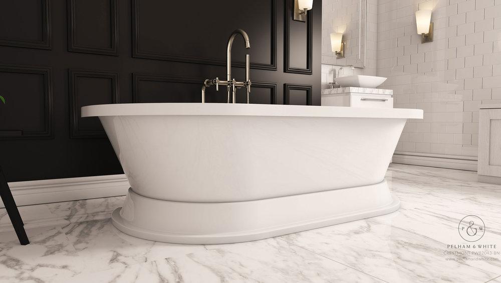 """Crestmont 67"""" Pedestal Tub in Nickel"""