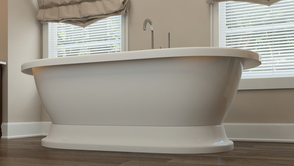 """Crestmont 67"""" Stand Alone Tub in Chrome"""