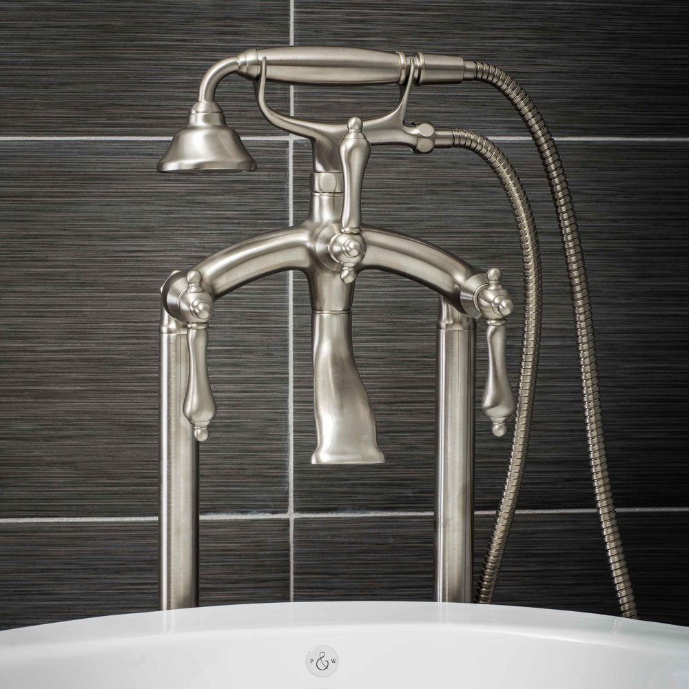 pelham and white vintage floor mount tub filler faucet in brushed nickel with metal levers