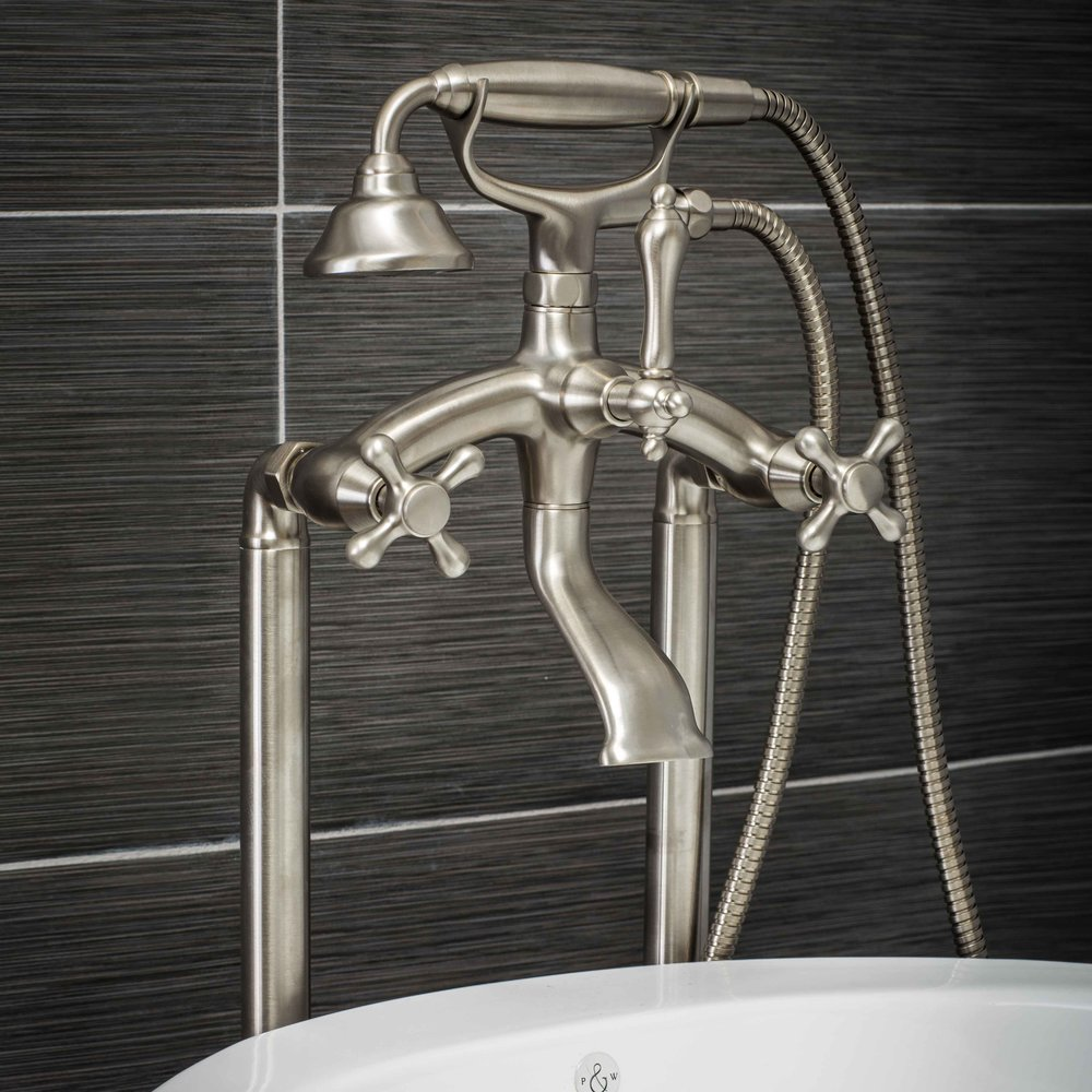 Pelham and White- Vintage Floor Mount Tub Filler Faucet in Brushed Nickel with Cross Handles- Main
