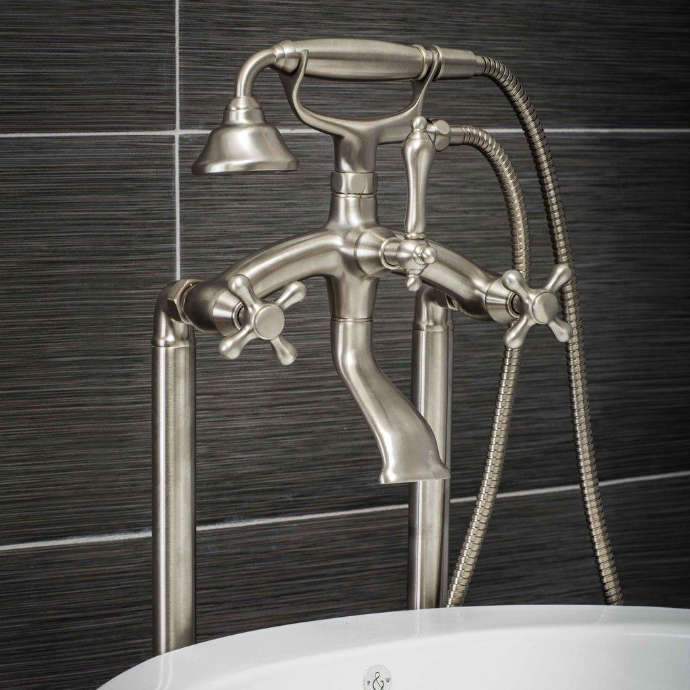 Vintage Floor Mount Tub Filler Faucet in Brushed Nickel with Cross Handles-  $649.95
