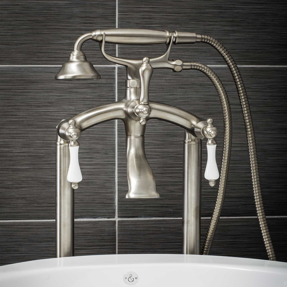 Pelham and White- Vintage Floor Mount Tub Filler Faucet in Brushed Nickel with Porcelain Levers- Main