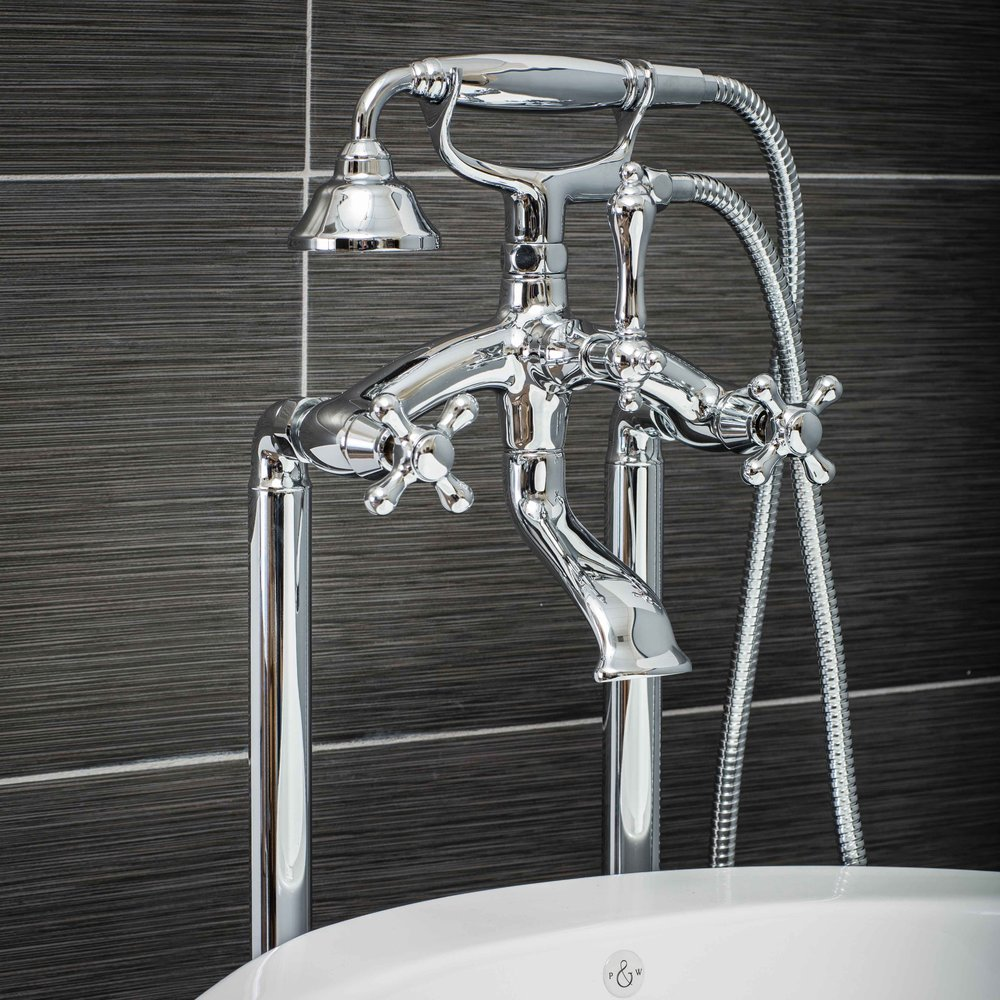 Vintage Floor Mount Tub Filler Faucet in Chrome with Cross Handles-  $549.95