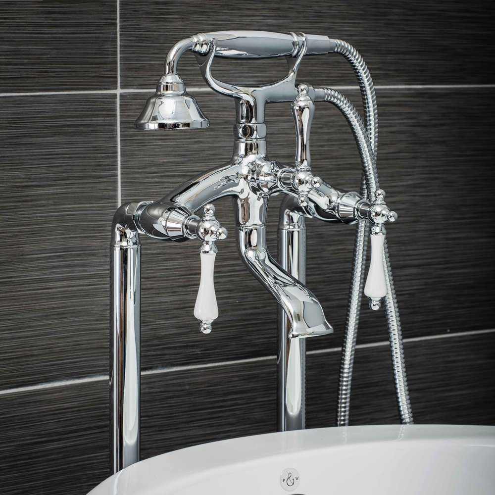 Pelham and White- Vintage Floor Mount Tub Filler Faucet in Chrome with Porcelain Levers- Main