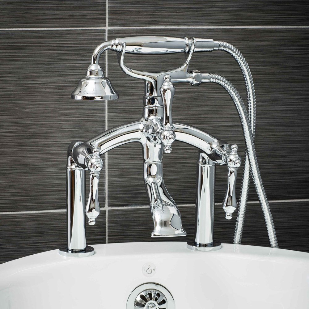 Vintage Deck Mount Tub Filler Faucet in Chrome with Metal Levers-  $449.95