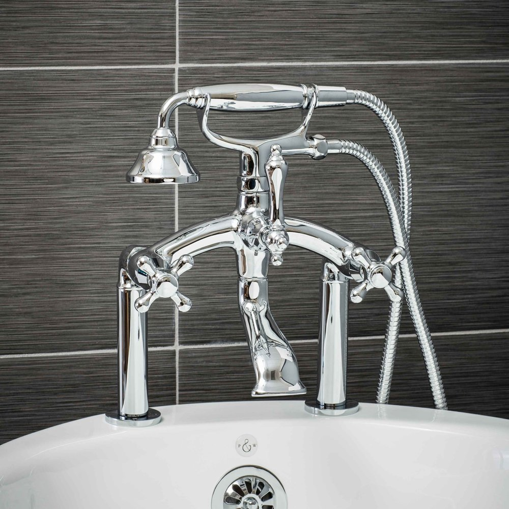 Vintage Deck Mount Tub Filler Faucet in Chrome with Cross Handles-  $449.95