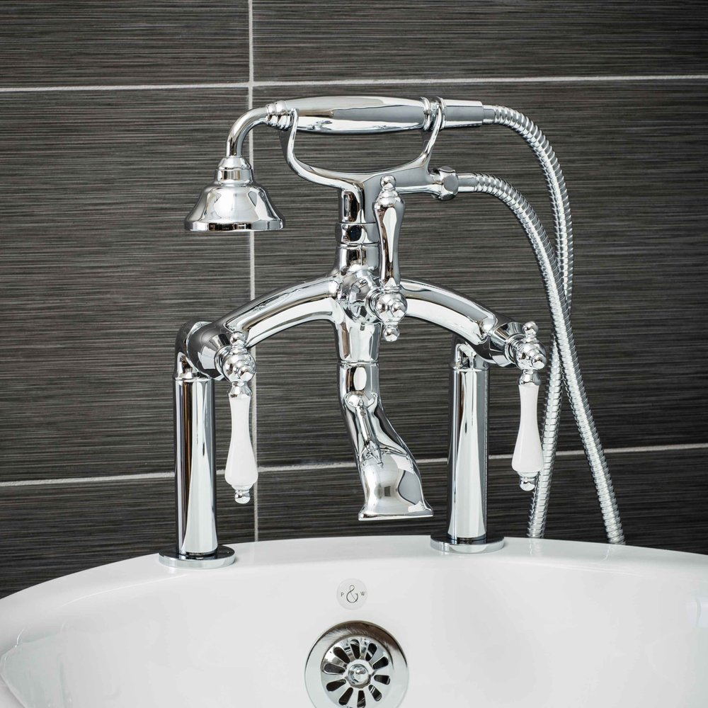 Vintage Deck Mount Tub Filler Faucet in Chrome with Porcelain Levers-  $449.95