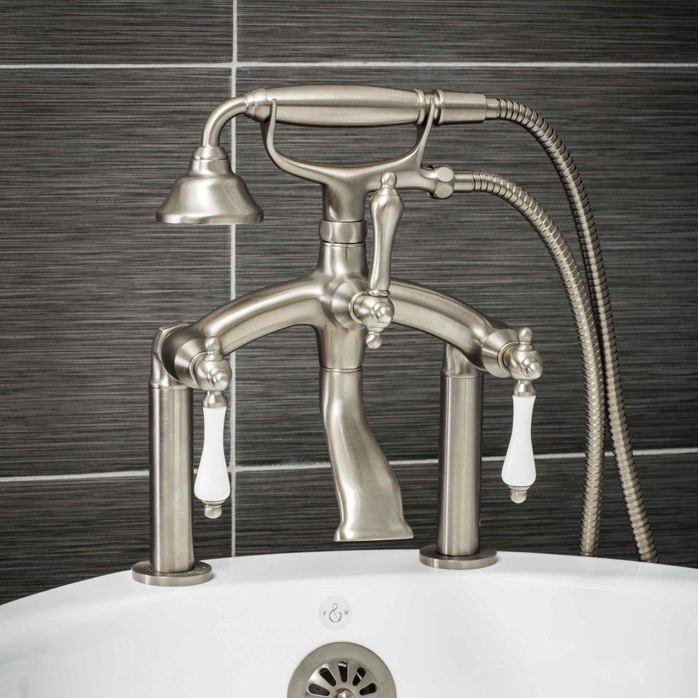 Vintage Deck Mount Tub Filler Faucet in Brushed Nickel with Porcelain Levers-  $549.95