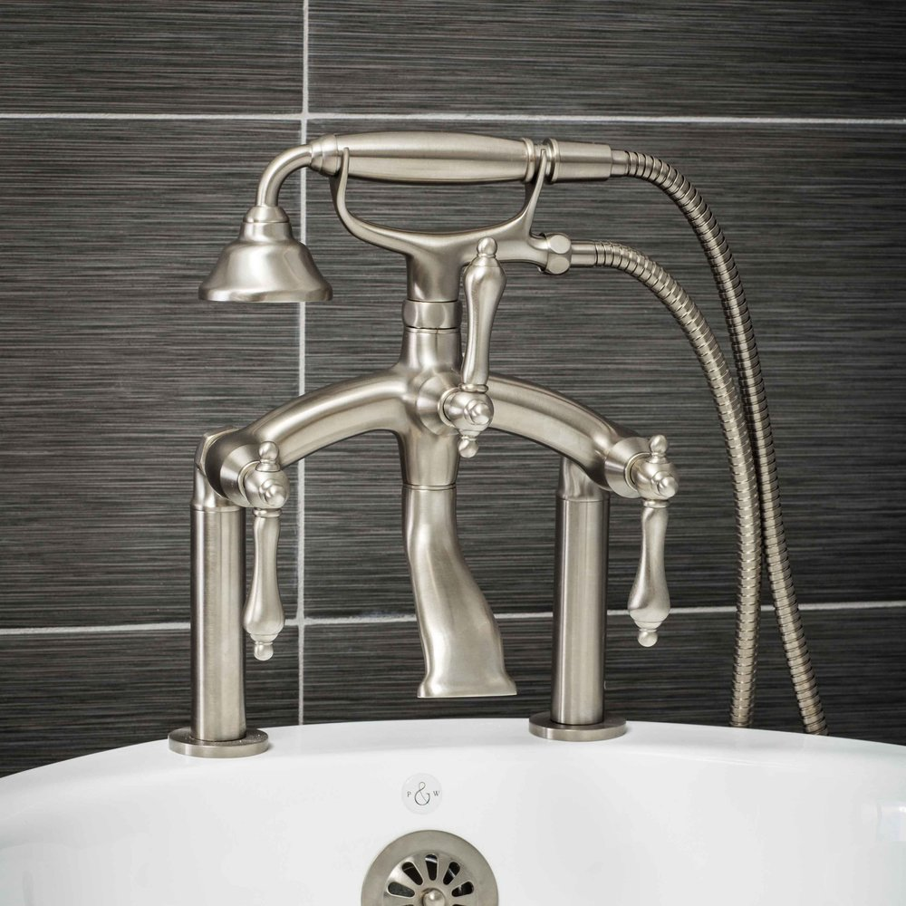 Pelham and White- Vintage Deck Mount Tub Filler Faucet in Brushed Nickel with Metal Levers- Main