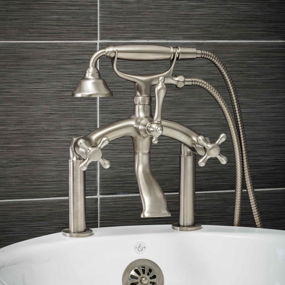 Pelham and White- Vintage Deck Mount Tub Filler Faucet in Brushed Nickel with Cross Handles- Main