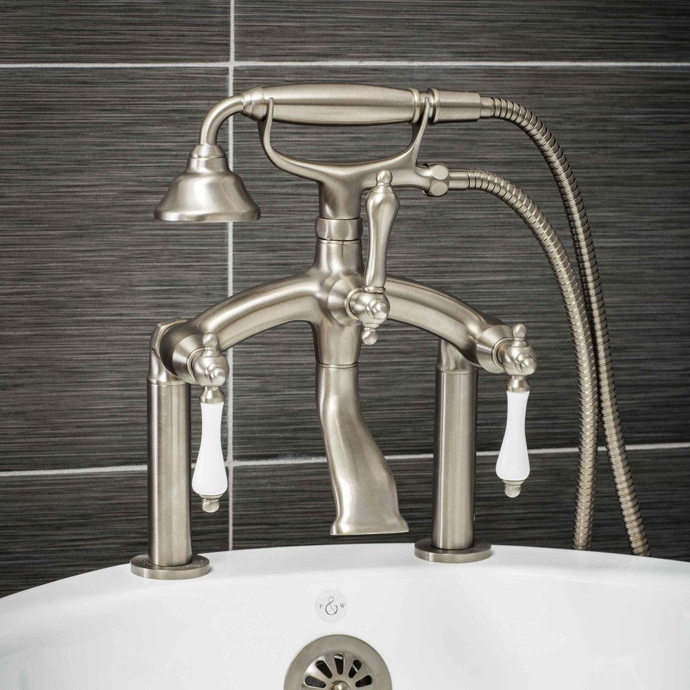 Pelham and White- Vintage Deck Mount Tub Filler Faucet in Brushed Nickel with Porcelain Levers- Main