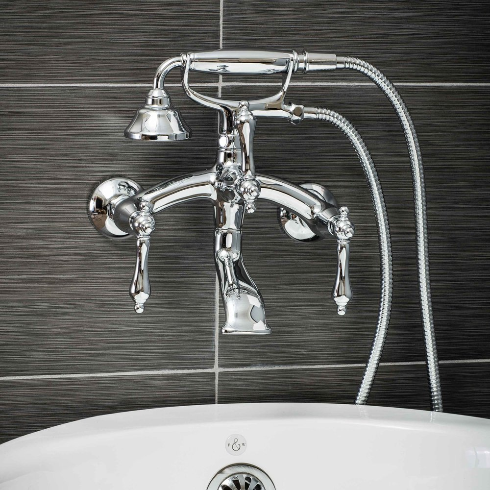 Vintage Wall Mount Tub Filler Faucet in Chrome with Metal Levers-  $349.95