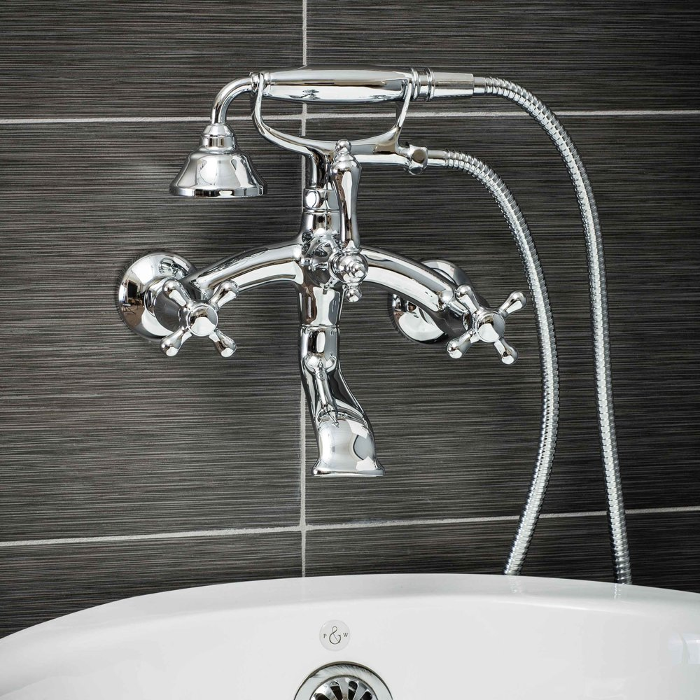Vintage Wall Mount Tub Filler Faucet in Chrome with Cross Handles-  $349.95