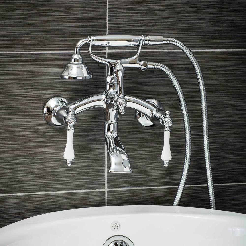 Pelham and White- Vintage Wall Mount Tub Filler Faucet in Chrome with Porcelain Levers- Main