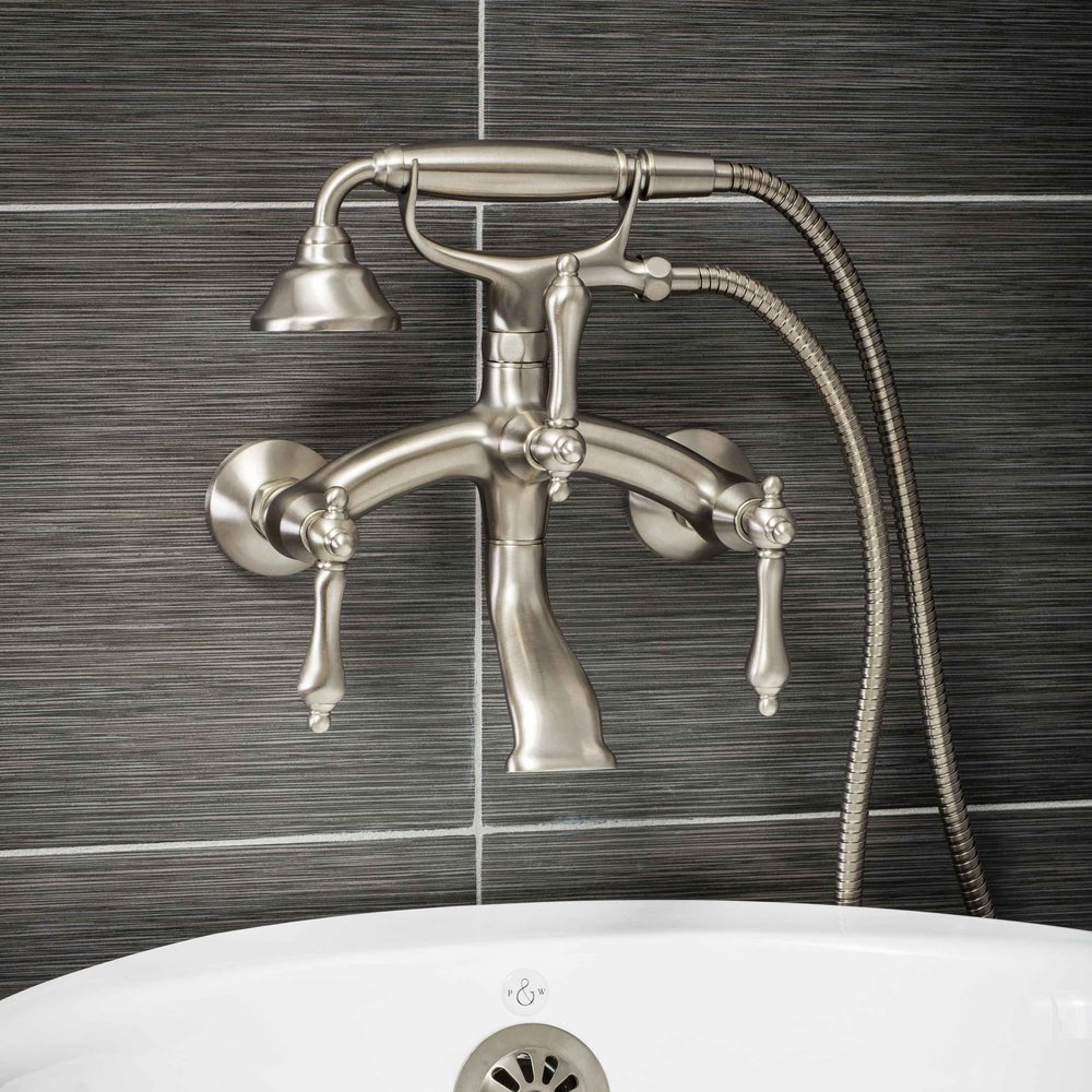 Pelham and White- Vintage Wall Mount Tub Filler Faucet in Brushed Nickel with Metal Levers- Main