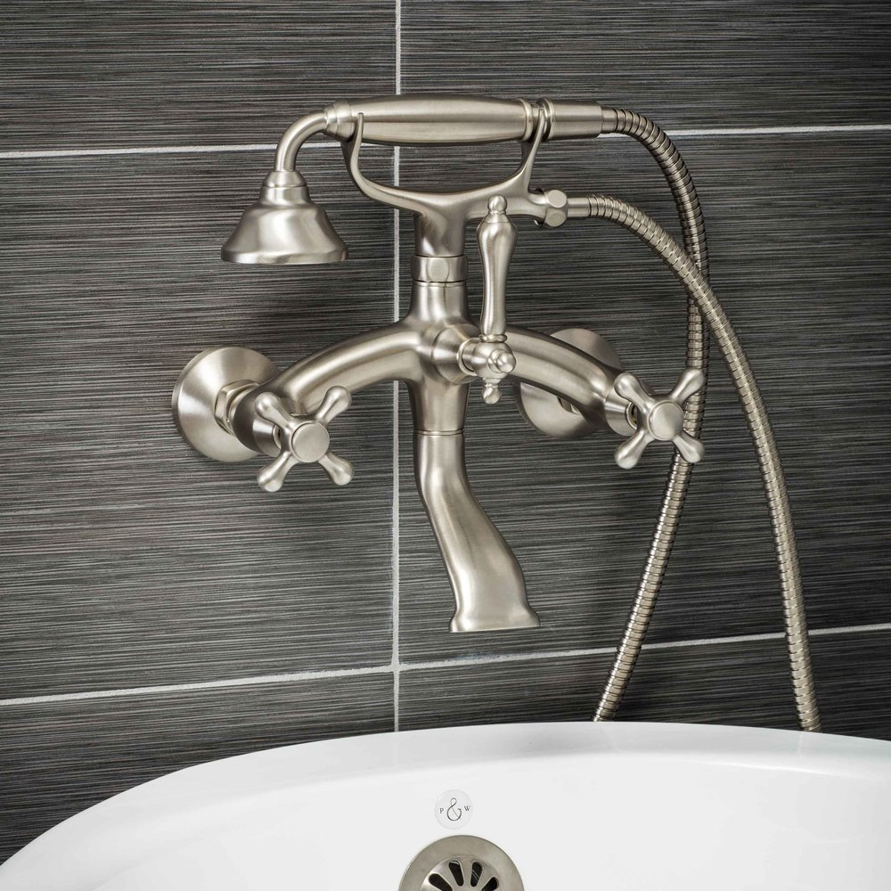 Pelham and White- Vintage Wall Mount Tub Filler Faucet in Brushed Nickel with Cross Handles- Main