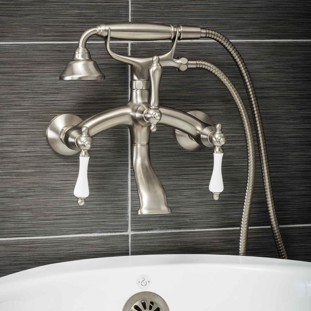 Pelham and White- Vintage Wall Mount Tub Filler Faucet in Brushed Nickel with Porcelain Levers- Main