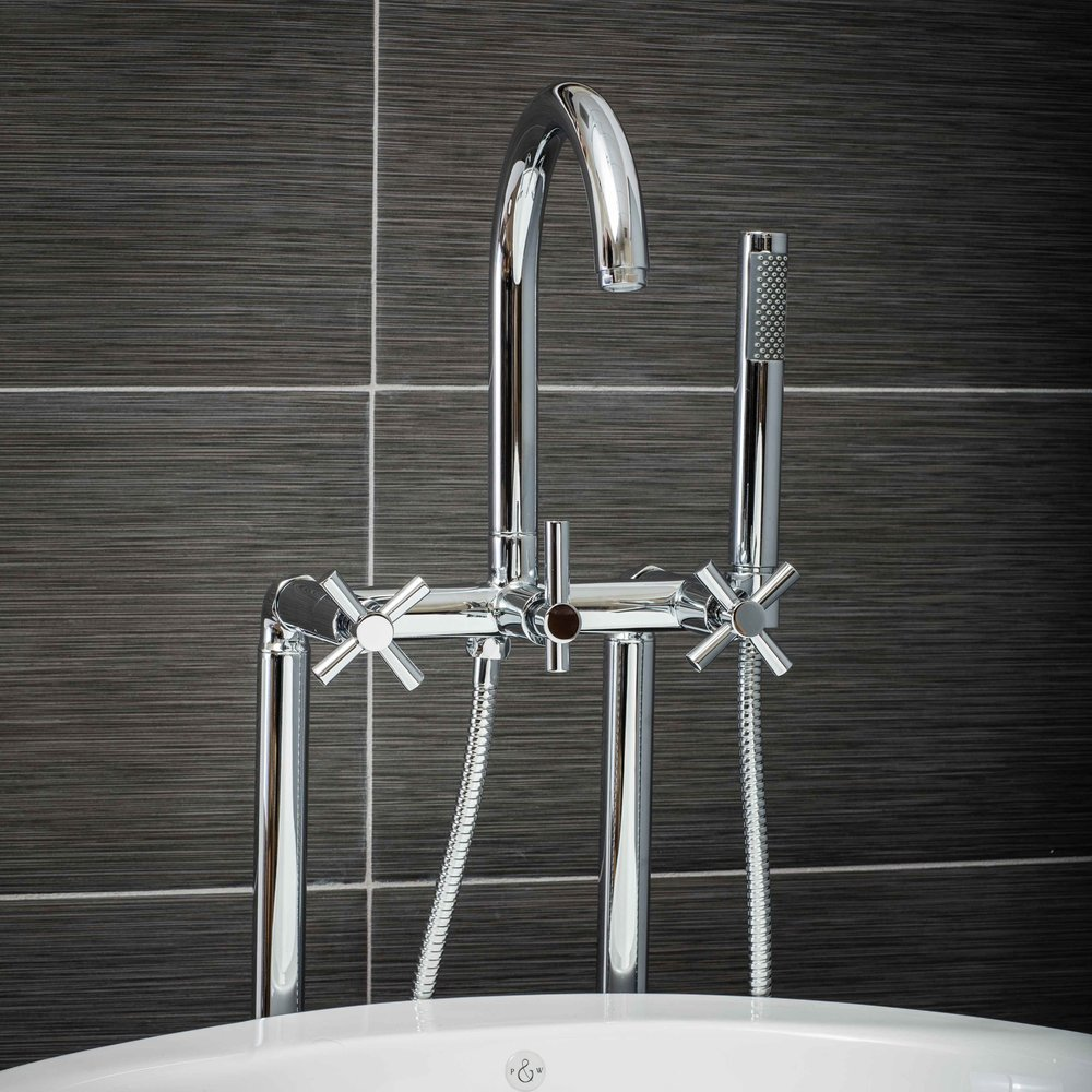 Contemporary Floor Mount Tub Filler Faucet in Chrome with Cross Handles-  $549.95