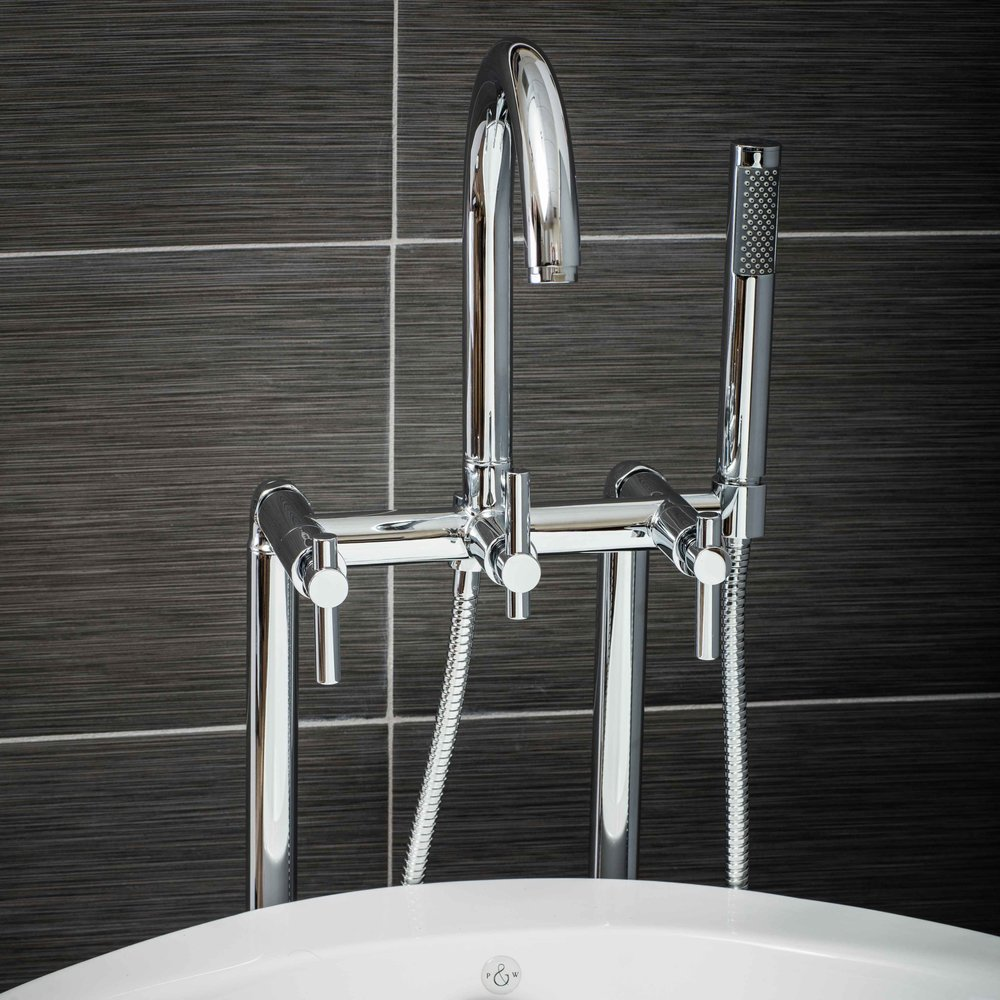 Pelham and White- Contemporary Floor Mount Tub Filler Faucet in Chrome with Metal Levers- Main