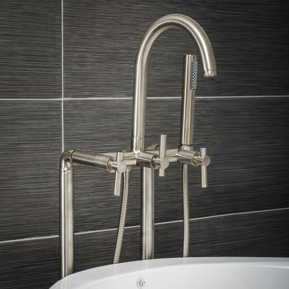 Pelham and White- Contemporary Floor Mount Tub Filler Faucet Brushed Nickel with Metal Levers- Main