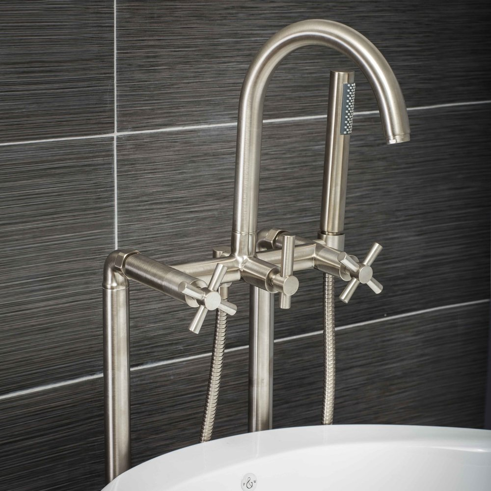 Pelham and White- Contemporary Floor Mount Tub Filler Faucet in Brushed Nickel with Cross Handles- Main